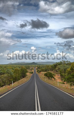 Outback Highway to Chillagoe, Mareeba Shire Council, Queensland, Australia - stock photo