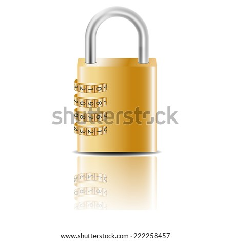 Outboard combination lock. - stock photo