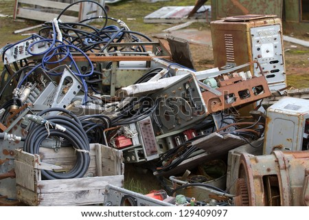 outdated electronic computer military equipment - stock photo