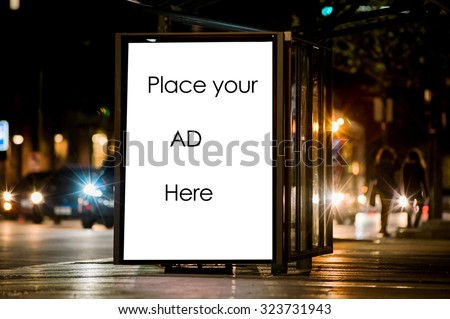 Outdoor advertising bus shelter  - stock photo