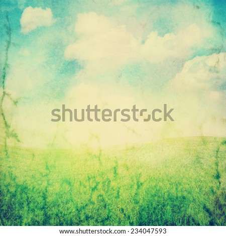 outdoor background of sky and grass toned with a retro vintage instagram filter  - stock photo