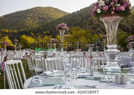 Outdoor Banquet Table. - stock photo