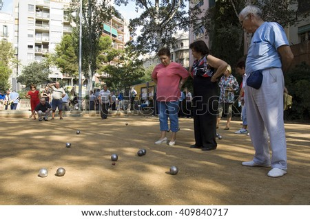 outdoor bowls court in Barcelona, Spain, Europe  - stock photo