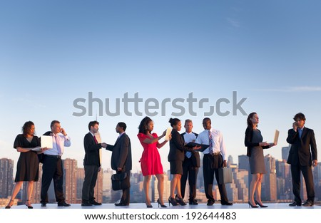 Outdoor business meeting in New York city. - stock photo