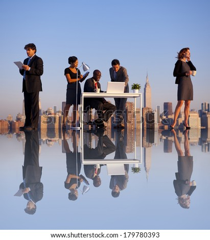 Outdoor Business Meeting on Rooftop of New York City - stock photo