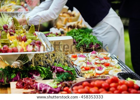 outdoor catering - stock photo