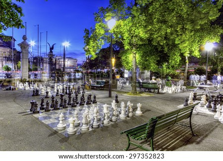 Outdoor chessgame, Bastions park by night in Geneva, Switzerland, HDR - stock photo