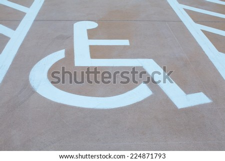 Outdoor empty handicap parking  - stock photo
