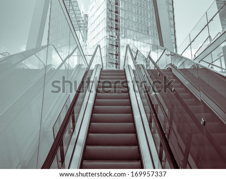 Outdoor escalator in a modern district - stock photo