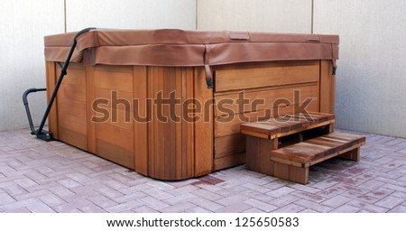outdoor hot tub / jacuzzi - stock photo