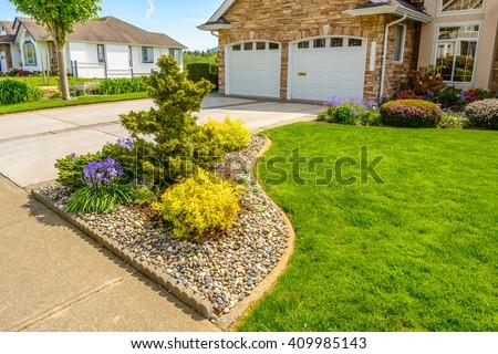 Outdoor landscape garden in North Vancouver, British Columbia, Canada. - stock photo
