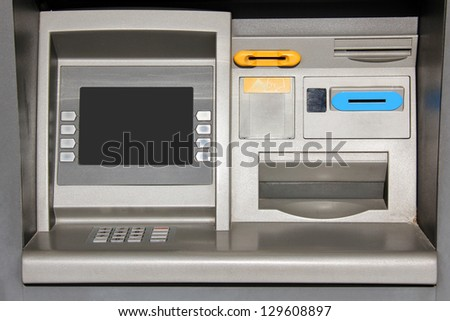Outdoor metallic atm teller machine. - stock photo
