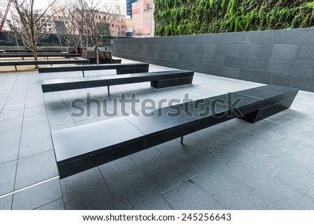 outdoor modern seat in the city  - stock photo