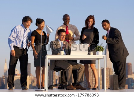 Outdoor Office Meeting in New York City - stock photo