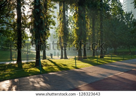 outdoor park nearby Kuala Lumpur Twins Tower - stock photo