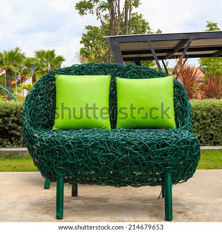 Outdoor patio seating are with nice Rattan sofa . - stock photo