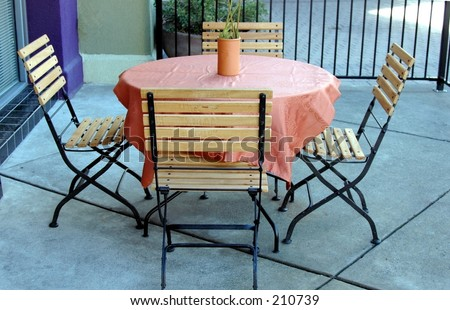 outdoor patio set - stock photo