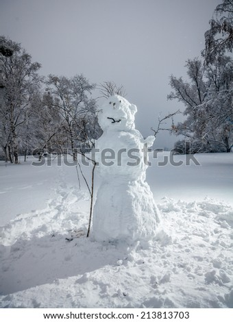Outdoor photo of big snowman at winter park - stock photo