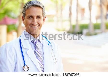 Outdoor Portrait Male Doctor - stock photo