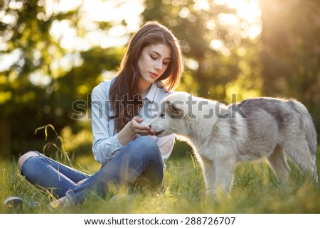 outdoor portrait of beautiful girl and malamutes puppy - stock photo