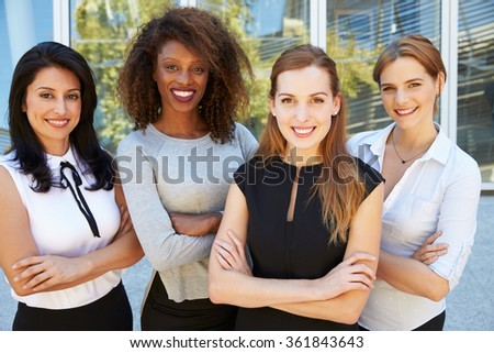 Outdoor Portrait Of Female Multi-Cultural Business Team - stock photo