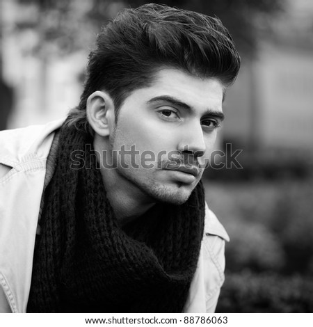 outdoor portrait of young man - stock photo