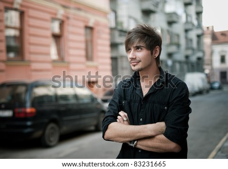 outdoor portrait. soft focus - stock photo