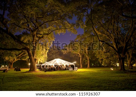 outdoor reception under tent and trees at night - stock photo