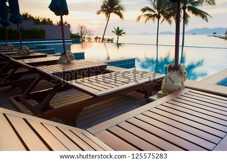 Outdoor resort pool in asia tourist islands - stock photo