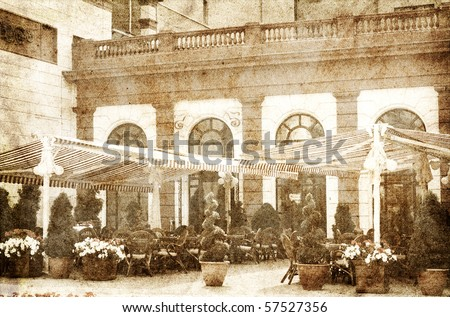 Outdoor restaurant. Photo in vintage image style. - stock photo