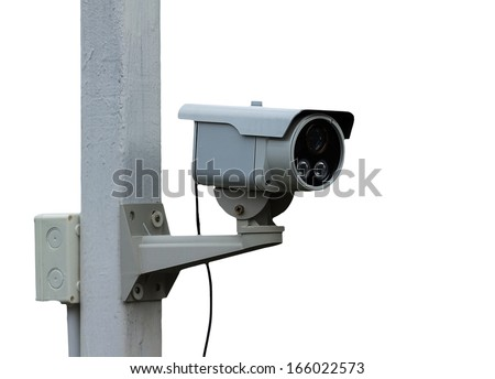 outdoor security cctv cameras with housing on the pole cover  - stock photo