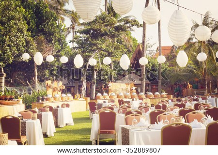 Outdoor setup for wedding reception - stock photo
