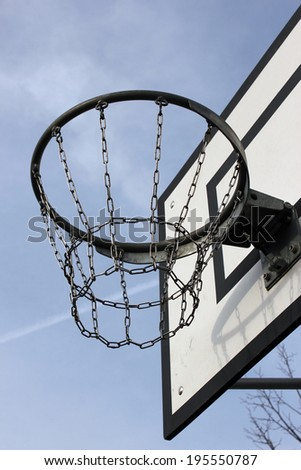 outdoor shot of basketball hoop  - stock photo