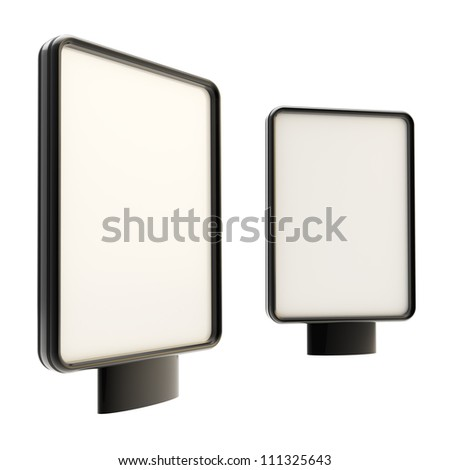 Outdoor showcase copyspace black billboard, isolated on white background, set of two vertical oriented - stock photo