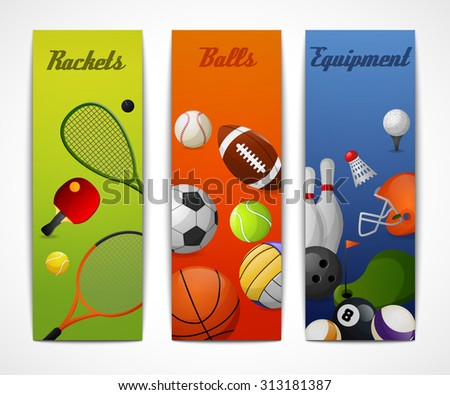 Outdoor sport activities squash tennis soccer basketball rugby accessories flat vertical banners set abstract isolated  illustration - stock photo