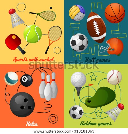 Outdoor sport games squash tennis soccer basketball rugby accessories four flat icons composition  abstract isolated  illustration - stock photo