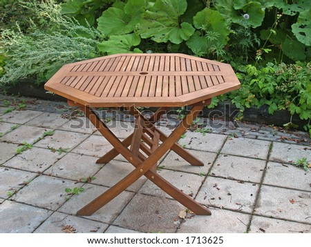 Outdoor table, close-up - stock photo