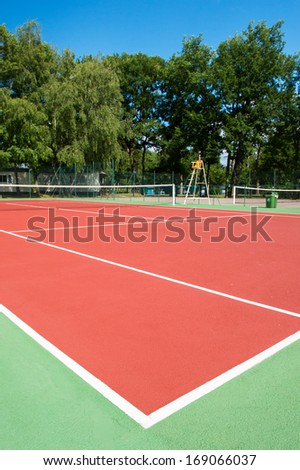 Outdoor tennis court with nobody - stock photo