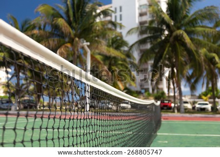 Outdoor tennis net at court with nobody, closeup - stock photo