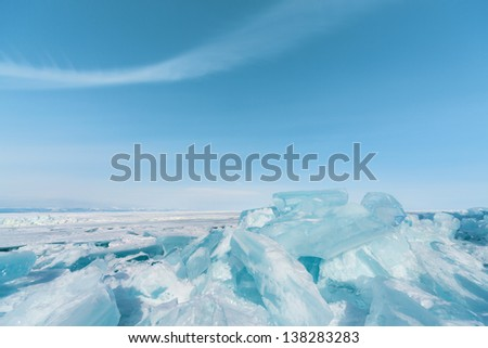 outdoor view of frozen baikal lake in winter - stock photo