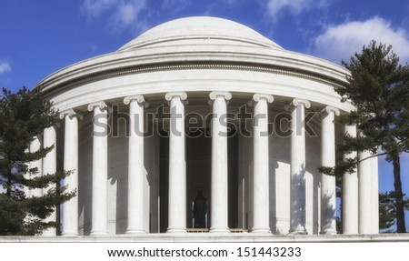 Outdoor view of Jefferson Memorial in Washington DC - stock photo
