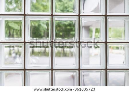 Outdoor view through glass bricks. - stock photo