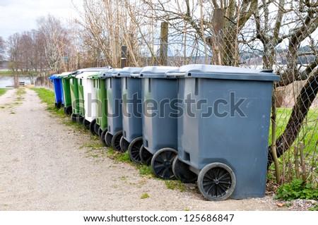 Outdoor waste bins - stock photo