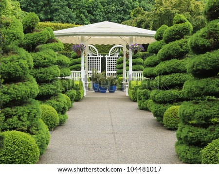 Outdoor wedding gazebo in the garden - stock photo