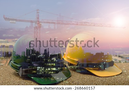 Outdoor work use Safety helmet for Oil ,Refinery ,Construction site. - stock photo