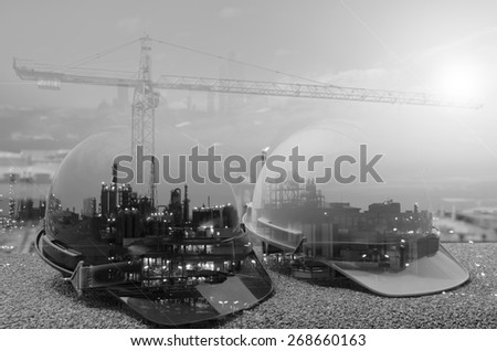 Outdoor work use Safety helmet for Oil ,Refinery ,Construction site black and white tone. - stock photo