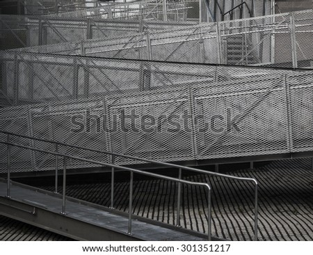 outdoor zigzag metal staircase  - stock photo