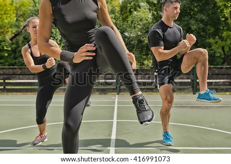 Outdoors exercise class - stock photo