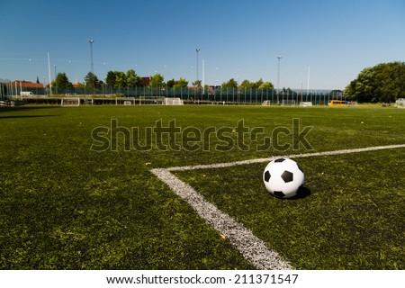 Outdoors training facility for amateur soccer team in Denmark. - stock photo