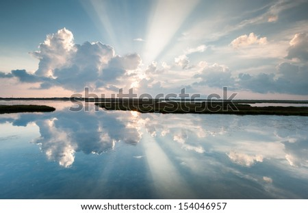 Outer Banks OBX Cape Hatteras National Seashore Pamlico Sound Light Ray Reflections - stock photo